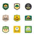 forest camp logo emblem set flat style vector image vector image