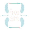 free spirit bohemian frame with feathers vector image vector image