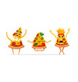 funny cartoon pizza characters vector image