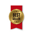 gold bestseller badge with ribbon and white vector image
