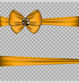 golden bow decoration with horizontal ribbons on vector image vector image
