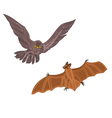 Halloween owl and bat vector image vector image