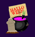 halloween pot with magical potion and hand of vector image