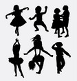 kid playing activity silhouette vector image vector image