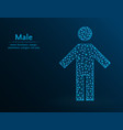 male low poly man icon on blue background vector image vector image
