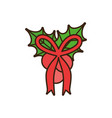 merry christmas holly berry bow ornament vector image vector image