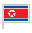 north korea flag on flagpole icon vector image
