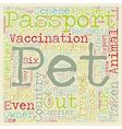 Pet Passport and PETS text background wordcloud vector image vector image