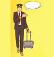 pop art steward flight attendant air hostess man vector image vector image