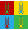 Pop art thermometer icons vector image