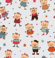 Seamless pigs pattern vector image vector image