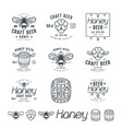set of honey beer labels vector image vector image