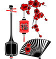 Set of Japanese art shamisen sakura fan and light vector image