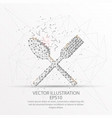 spoon and fork form low poly wire frame on white vector image
