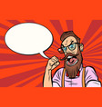 stylish bearded hipster with glasses rage anger vector image vector image