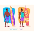 Surfing guy cartoon character Isolated vector image vector image