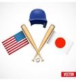Symbols of Baseball team USA and Japan vector image vector image