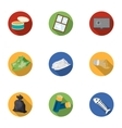 Trash and garbage set icons in flat style Big vector image vector image