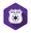 white police badge icon isolated with long shadow vector image vector image