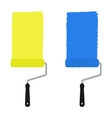 Yellow and blue paint rollers vector image vector image