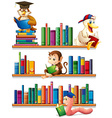 Animals and books vector image