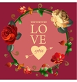 Love you card with beautiful vintage flowers vector image