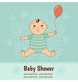 Baby shower card with a cute baby boy vector image