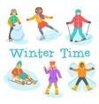Kids winter outdoor games and activities cartoon vector image