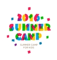 Themed Summer Camp 2016 poster in flat style vector image
