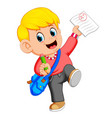 a boy showing great exam result with a plus mark vector image