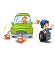 A car bumping the traffic cones vector image vector image