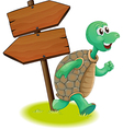 A turtle beside the wooden arrowboards vector image vector image