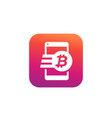 bitcoin payment money transfer icon for apps vector image vector image