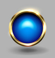 blue shiny circle blank button with gold metallic vector image vector image