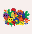 bright themed collection sweet hilarious vector image