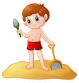 cartoon little boy playing sand with a shovel vector image