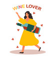 cheerful character a wine lover vector image