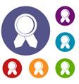 circle badge wih ribbons icons set vector image vector image