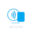 contactless payment with card icon tap to pay vector image vector image