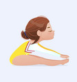 cute girl sitting forward bend stretching or yoga vector image