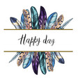 decorative card with colorful bird feathers vector image