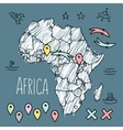 Doodle Africa map on blue chalkboard with pins and vector image vector image