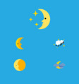 flat icon midnight set of midnight lunar moon vector image