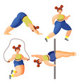 full girl involved in sports set sports yoga vector image