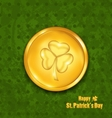Golden coin with three leaves clover Grunge St