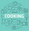 green line flat circle cooking vector image vector image