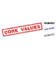 grunge core values textured rectangle watermarks vector image vector image