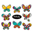 Hand drawn butterfly logo design collection vector image vector image