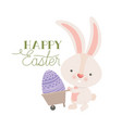 happy easter label with rabbit isolated icon vector image vector image