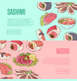 japanese restaurant flyers with famous dishes vector image vector image